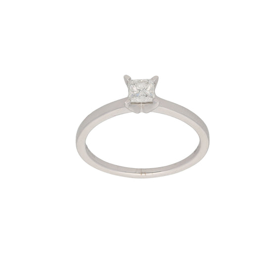18ct White Gold Diamond Ladies Solitaire Ring Size P