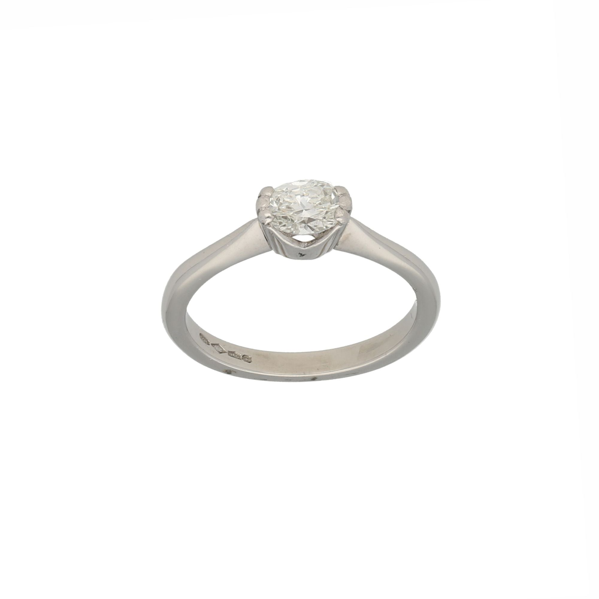 Platinum 0.60ct Diamond Solitaire Ring Ladies Size N