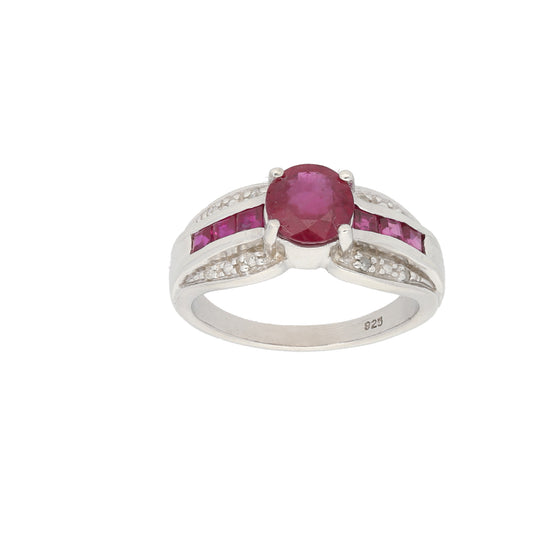 Silver Sterling Ruby & Diamond Ladies Cluster Ring Size O