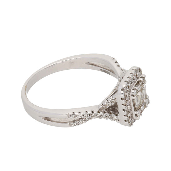 9ct White Gold 0.03ct Baguette Cut Diamond & 0.02ct Baguette Cut Diamond & 0.01ct Round Cut Diamond Ladies Dress/Cocktail Ring Size Q