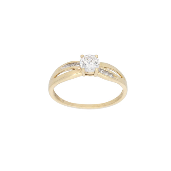9ct Gold Cubic Zirconia Ladies Solitaire Ring With Accent Stones Size P