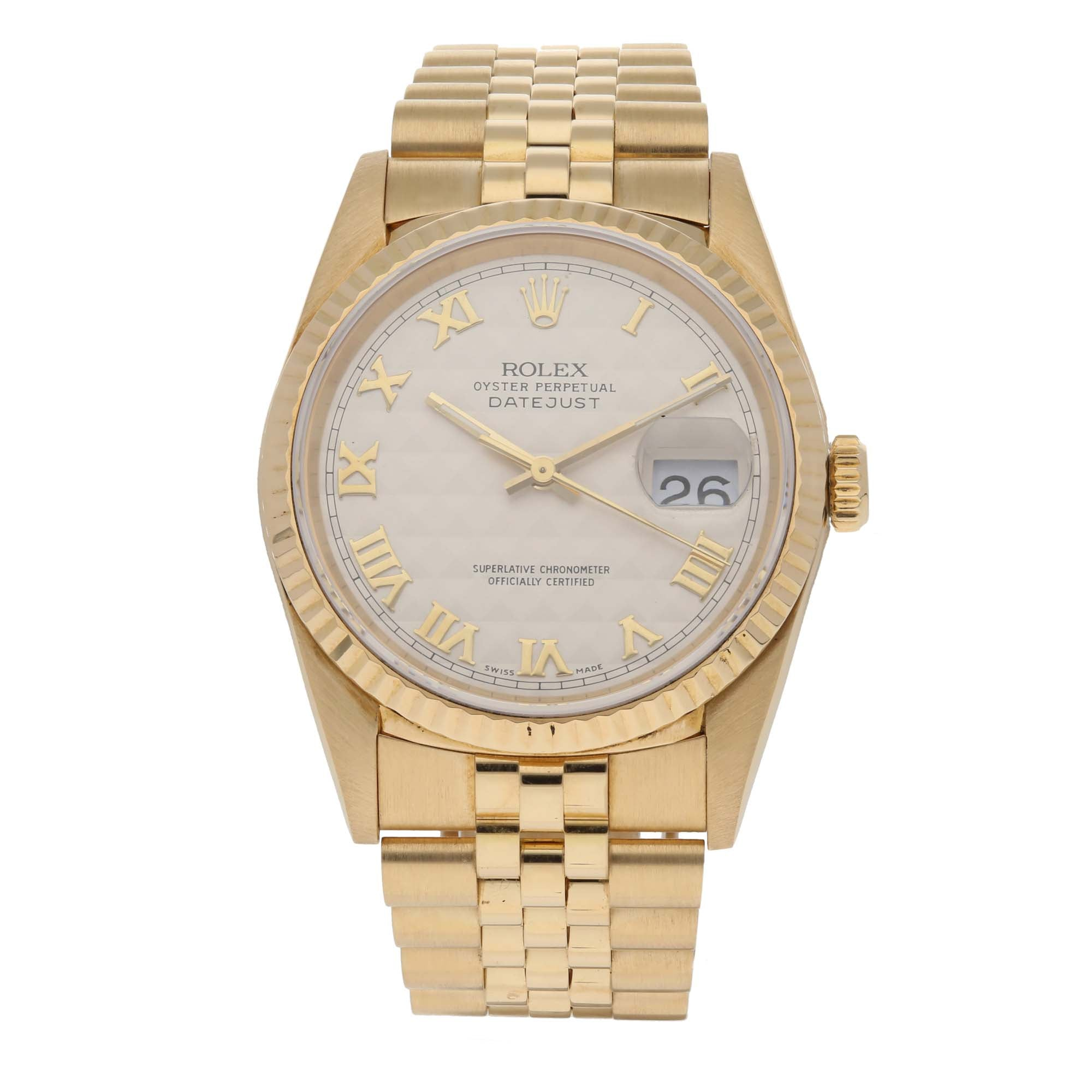 Rolex Datejust 16238 36mm Gold Mens Watch