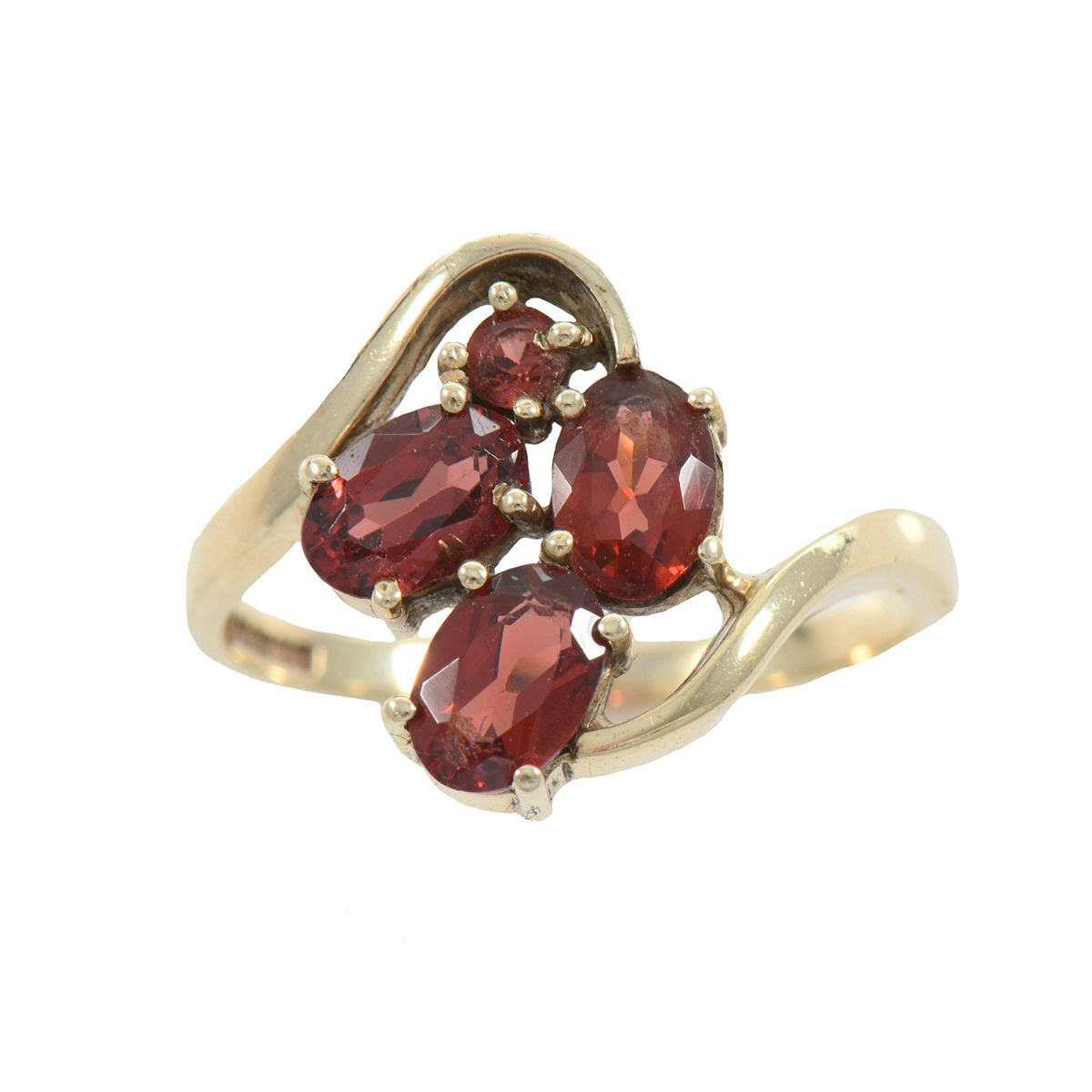 9ct Yellow Gold Garnet Set Cluster Ring Ladies Size M