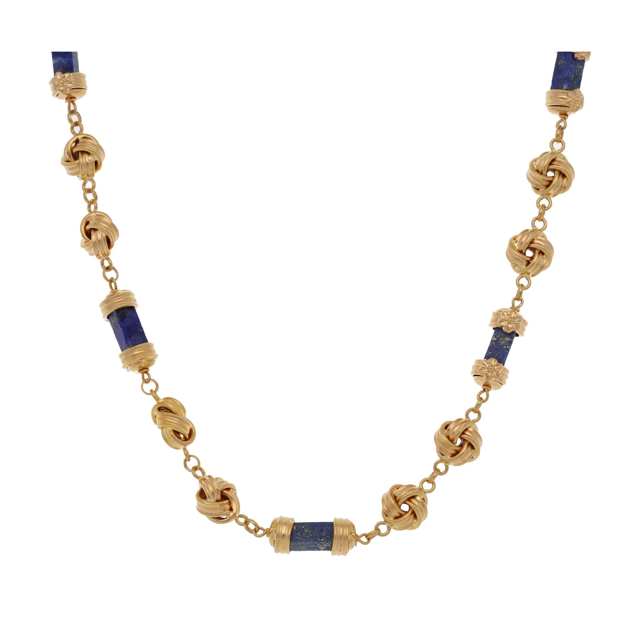18ct Gold Lapis Lazuli Ladies Fancy Necklace 16