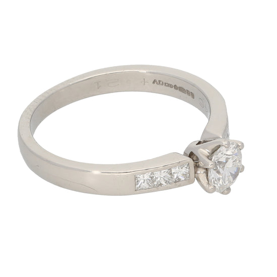 Platinum Ladies Solitaire Ring With Accent Stones Size M