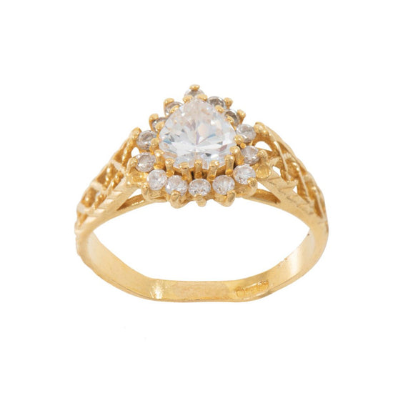 22ct Yellow Gold Cubic Zirconia Ladies Cluster Ring Size O