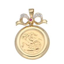 Load image into Gallery viewer, 9ct Gold Ruby & Diamond Ladies Coin Pendant