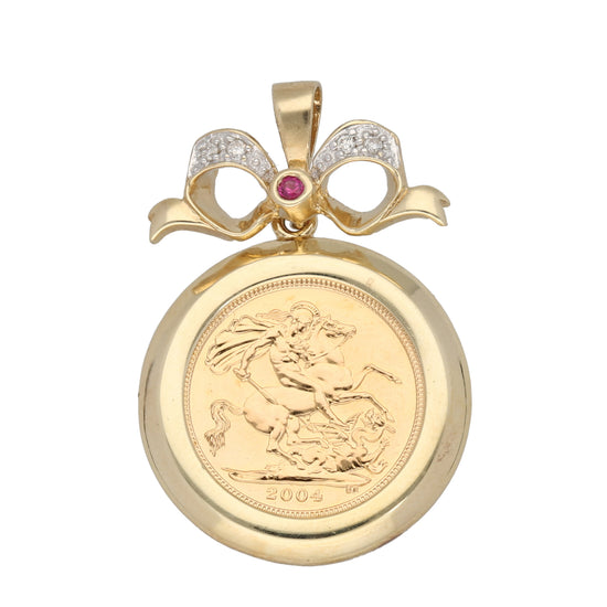 9ct Gold Ruby & Diamond Ladies Coin Pendant