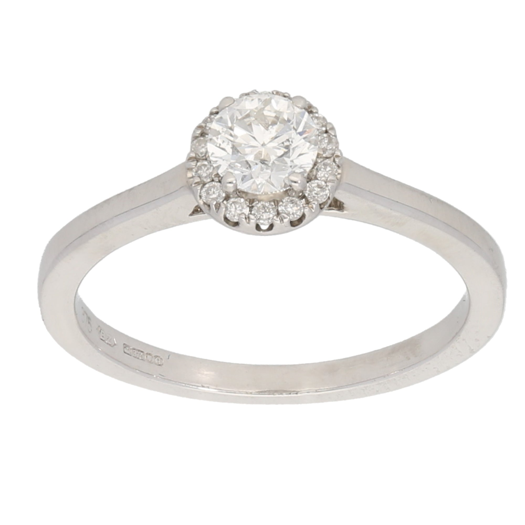 9ct White Gold 0.33ct Round Cut Diamond & 0.01ct Round Cut Diamond Ladies Solitaire Ring With Accent Stones Size M