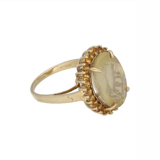 9ct Gold Citrine Ladies Dress Cocktail Ring Size N