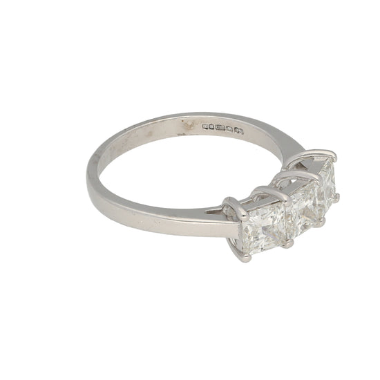 18ct White Gold 0.74ct Square Cut Diamond Ladies Three Stone Ring Size R