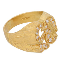 Load image into Gallery viewer, 22ct Gold Cubic Zirconia Ladies Emblem Ring Size R