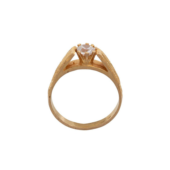 22ct Yellow Gold Ladies Cubic Zirconia Solitaire Ring Size M