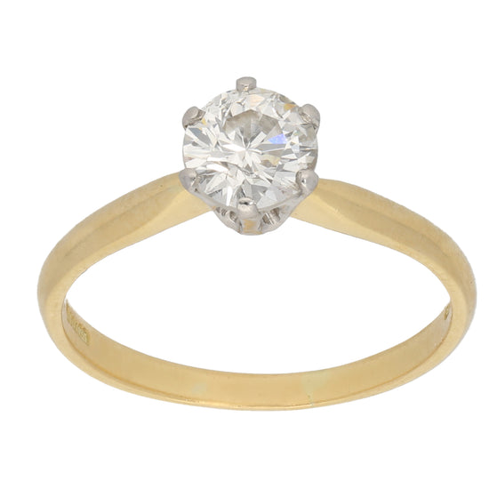 18ct Gold Ladies Solitaire Ring Size Q