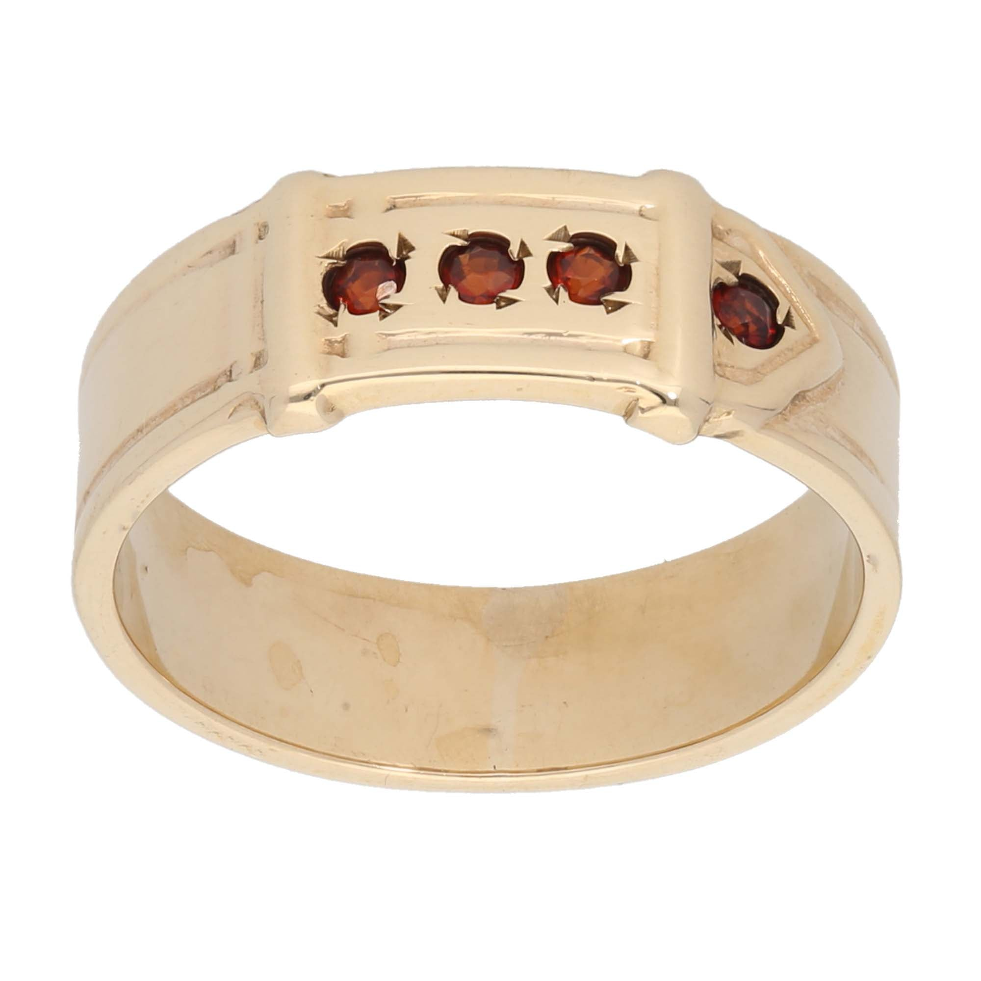 9ct Gold Garnet Ladies Buckle Ring Size U