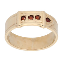 Load image into Gallery viewer, 9ct Gold Garnet Ladies Buckle Ring Size U