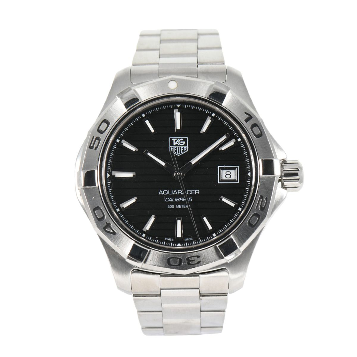 Tag Heuer Aquaracer Automatic WAP2010 Steel Black Dial 43mm Mens Watch