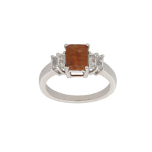 Load image into Gallery viewer, Silver Sterling Quartz Ladies Cluster Ring Size Q