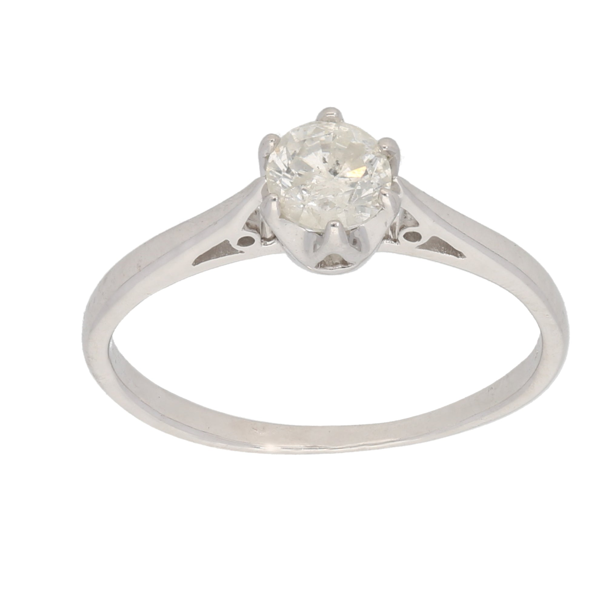 18ct White Gold 0.50ct Round Cut Diamond Ladies Solitaire Ring Size N