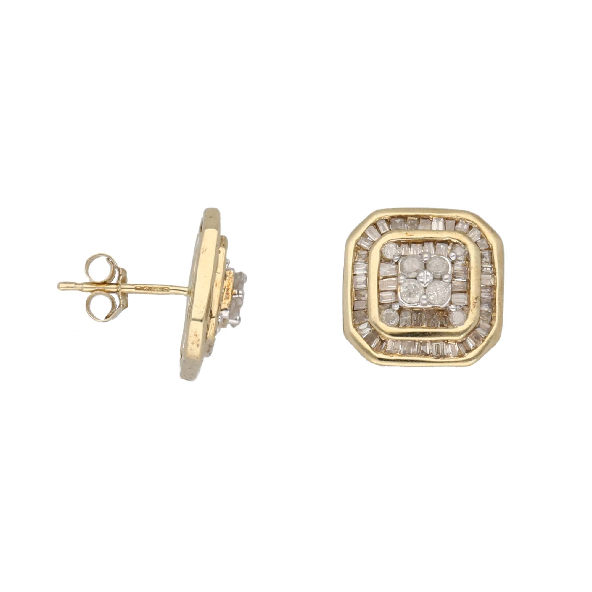 9ct Gold Diamond Ladies Dress Cocktail Earrings