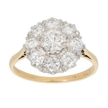 Load image into Gallery viewer, 18ct Gold 0.10ct Round Cut Diamond & 0.45ct Round Cut Diamond Ladies Cluster Ring Size L