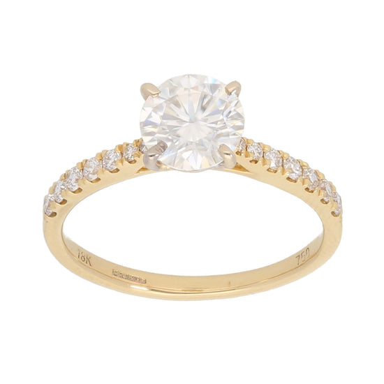 18ct Gold Ladies Solitaire Ring With Accent Stones Size L