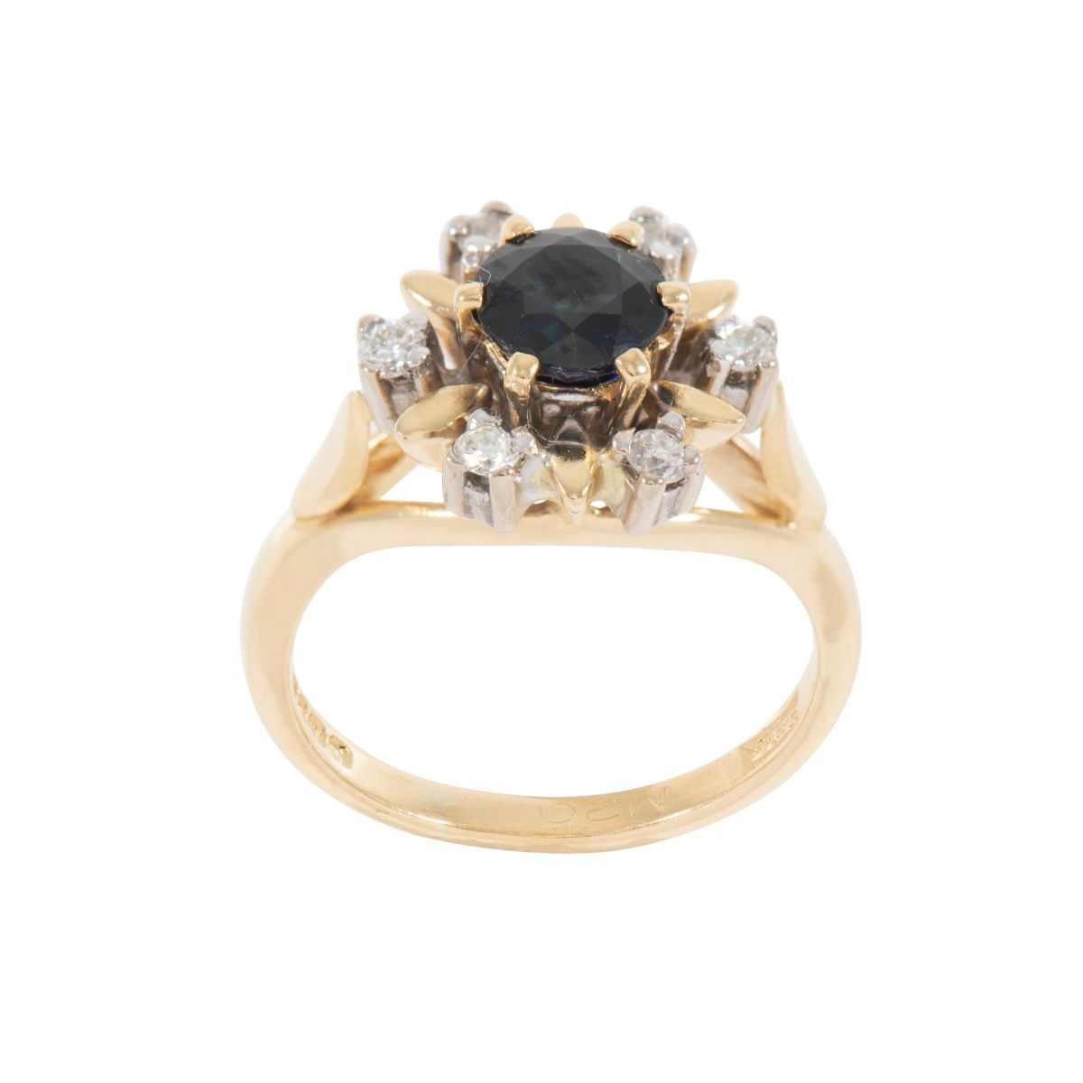 18ct Yellow Gold Diamond & Sapphire Cluster Ring Size K
