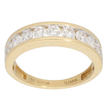 Load image into Gallery viewer, 18ct Gold 0.15ct Round Cut Diamond & 0.10ct Round Cut Diamond Ladies Half Eternity Ring Size T