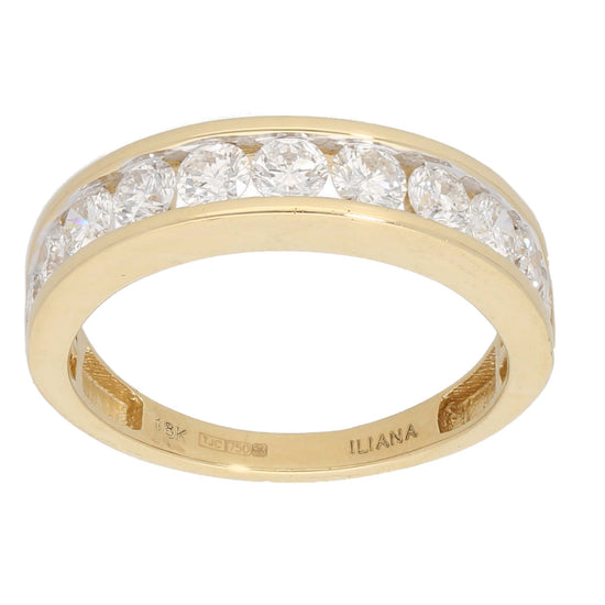 18ct Gold 0.15ct Round Cut Diamond & 0.10ct Round Cut Diamond Ladies Half Eternity Ring Size T