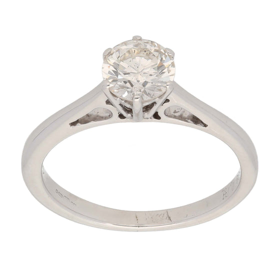 18ct White Gold Ladies Solitaire Ring Size K