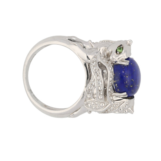 Silver Sterling Lapis Lazuli, Topaz & Diopside Ladies Cluster Ring Size N
