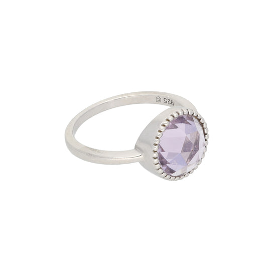 Silver Sterling Amethyst Ladies Dress/Cocktail Ring Size P