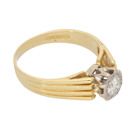 18ct Gold 0.30ct Round Cut Diamond Ladies Solitaire Ring Size M