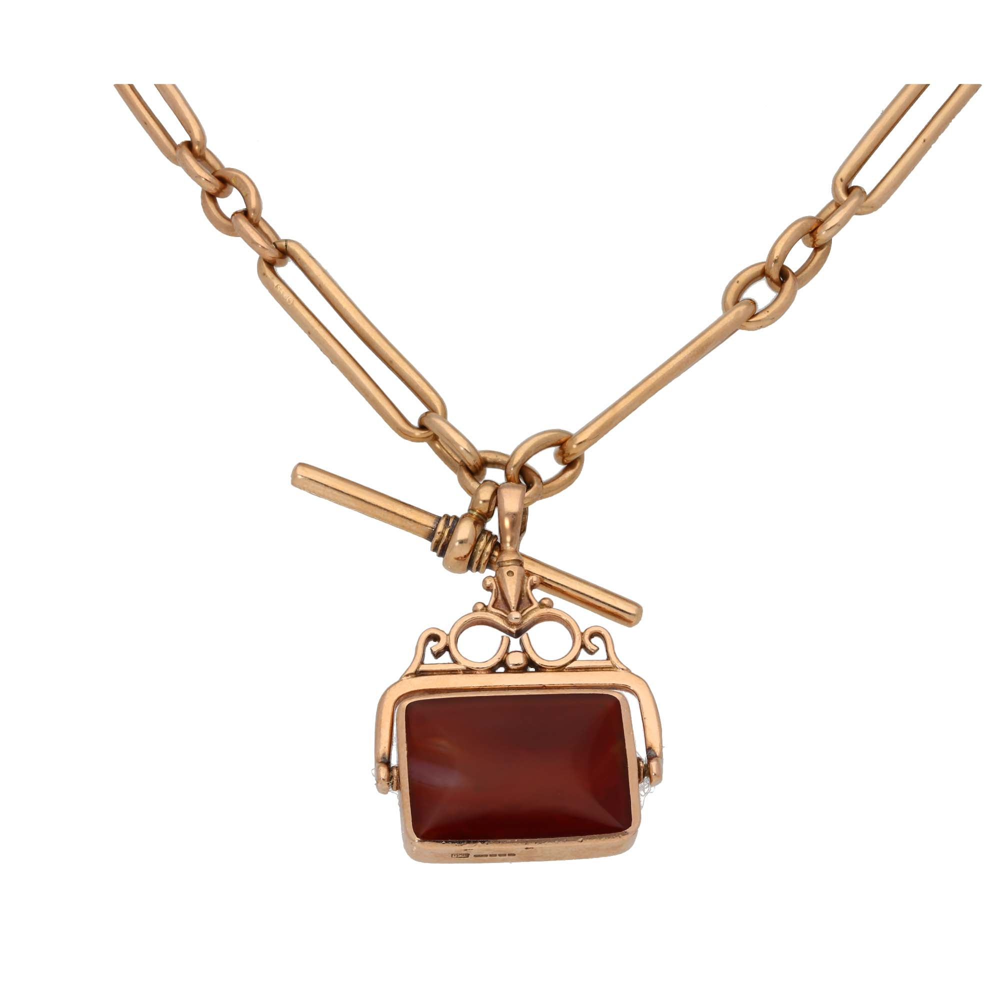 9ct Rose Gold Bloodstone & Carnelian Ladies Fob Pendant With Chain