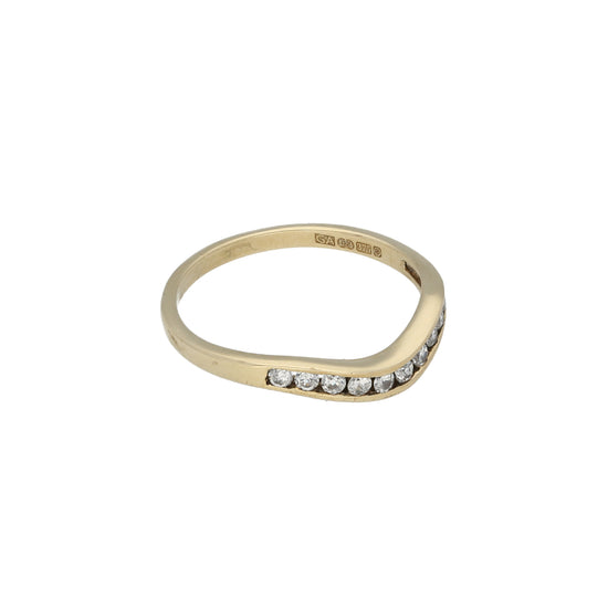 9ct Gold Cubic Zirconia Ladies Wishbone Ring Size P