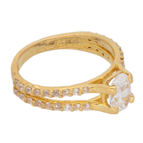 22ct Gold Cubic Zirconia Ladies Dress/Cocktail Ring Size K