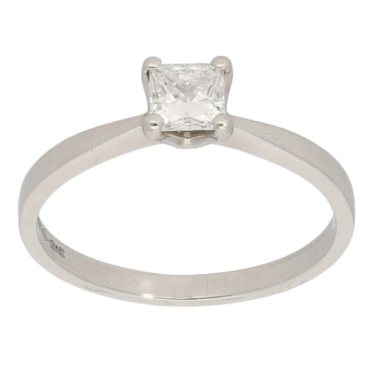 Platinum Ladies Solitaire Ring Size P