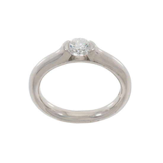 Platinum 0.5ct Diamond Solitaire Ring Ladies Size M