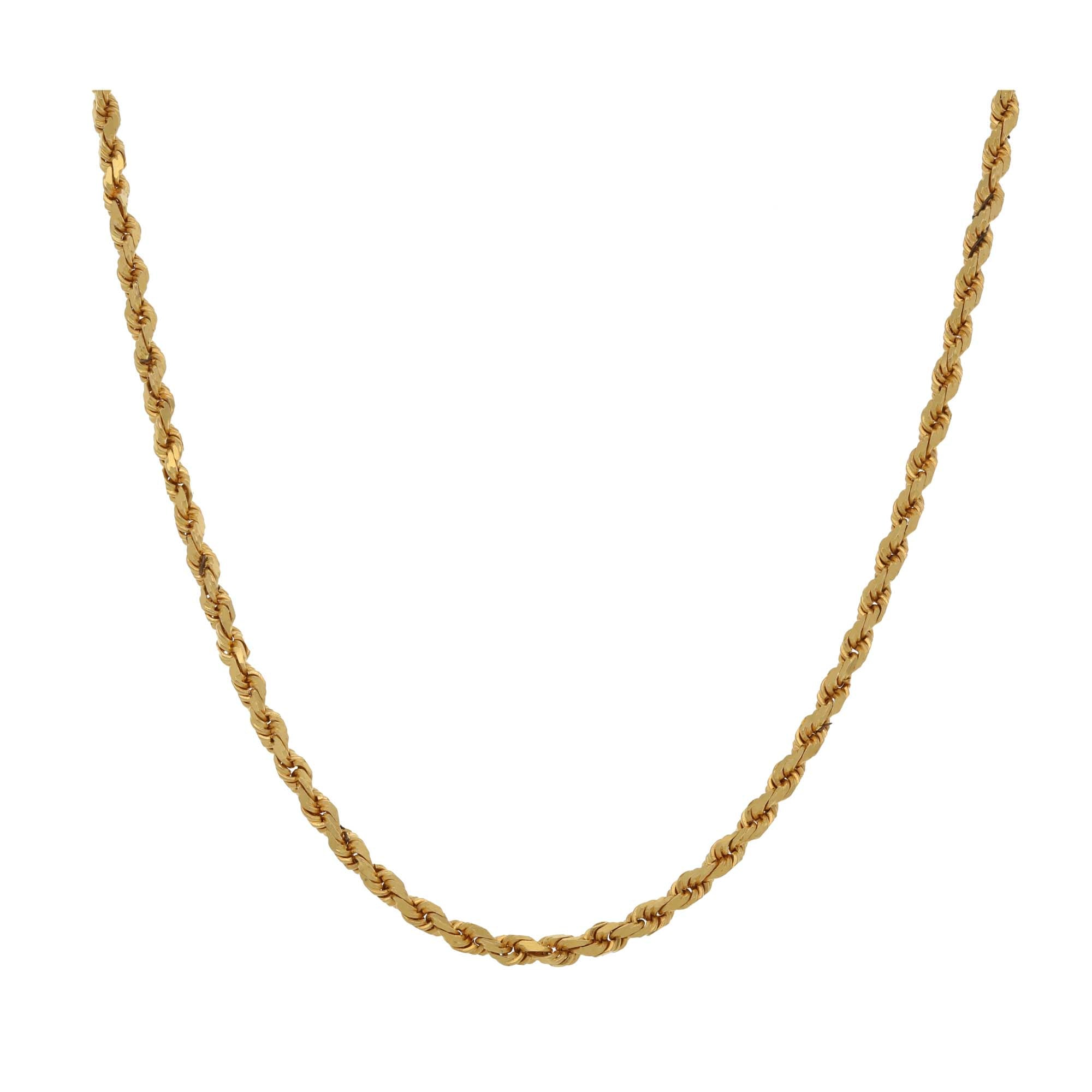 22ct Gold Ladies Rope Chain 22