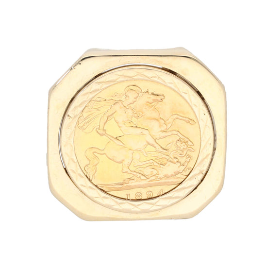 9ct Gold Ladies Coin Ring Size V