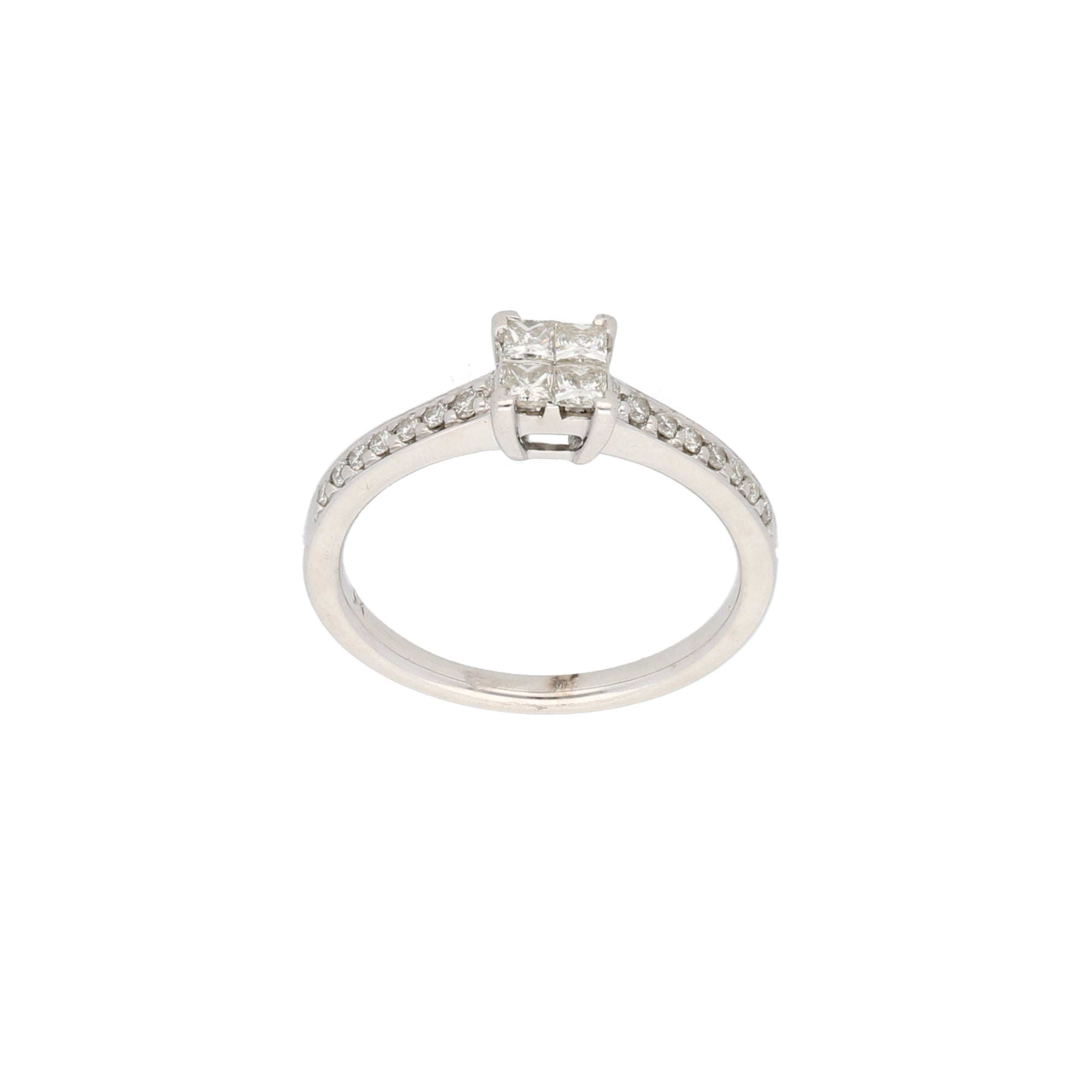 9ct White Gold 0.05ct Square Cut Diamond & 0.01ct Round Cut Diamond Ladies Cluster Ring Size L