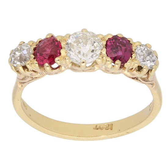 18ct Gold Ruby & Diamond Ladies Half Eternity Ring Size Q