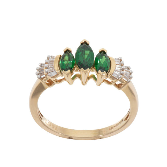 18ct Yellow Gold Diopside & Diamond Cluster Ring Ladies Size O