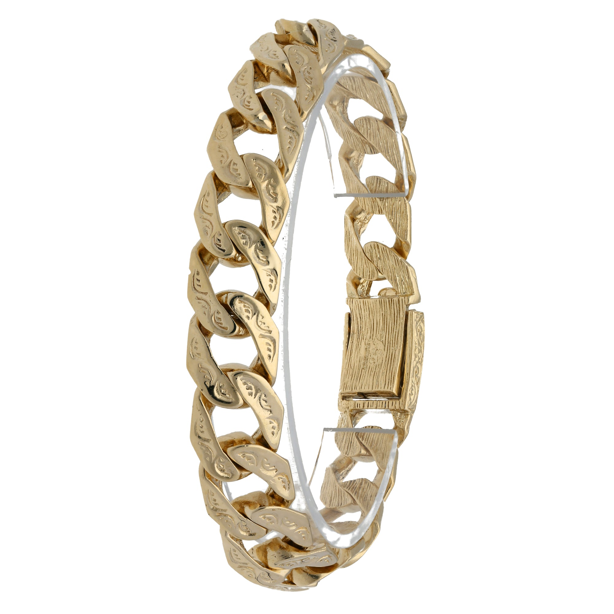 9ct Yellow Gold Mens Patterned Curb Bracelet 21.5cm