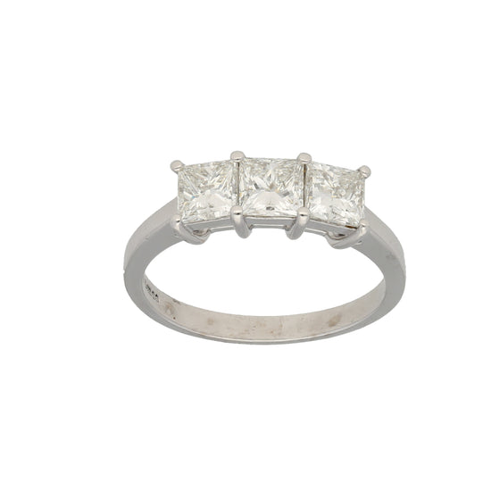 18ct White Gold Diamond Ladies Three Stone Ring Size R