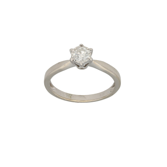 9ct White Gold Diamond Ladies Solitaire Ring Size N