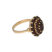 Load image into Gallery viewer, 18ct Gold Garnet Ladies Cluster Ring Size O