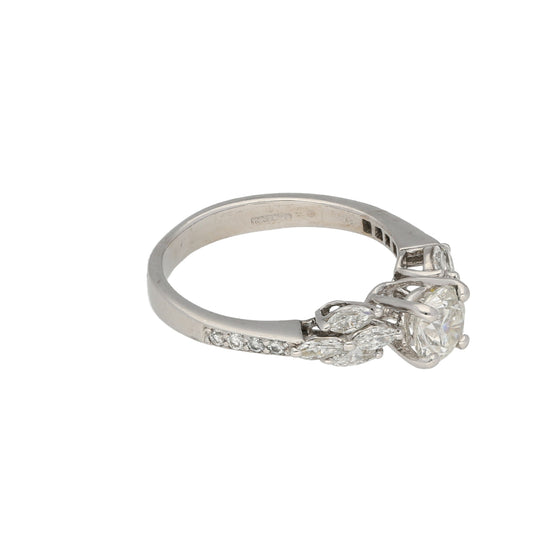 18ct White Gold Diamond Ladies Cluster Ring Size L
