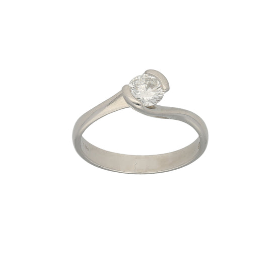Platinum 0.70ct Diamond Solitaire Ring Ladies Size R
