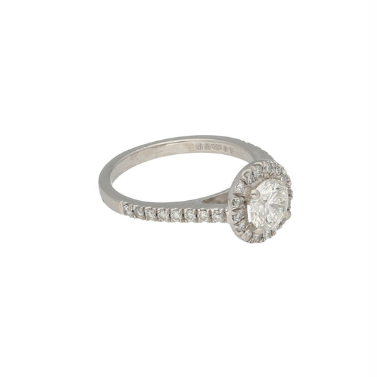 Platinum 1.12ct Diamond Accent Solitaire Ladies Ring Size M